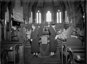 PLunket Nurses standing guard around the coffin of Frederick Truby King, 1938. Alexander Turnbull Library, Wellington, New Zealand. http://natlib.govt.nz/records/23144981