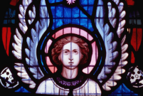 Detail from the repaired Three Angels window in east Minor transept, 1979