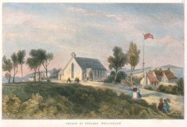 The first Anglican St Paul's church in Wellington, c.1840s