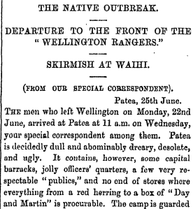 Hastings' report from the front. The Wellington Independent, July 4, 1868.