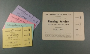Morning Service tickets for parishioners. ATL 88-290-11/02