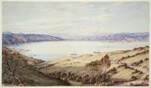 Wellington from Kelburn, 1870, watercolour.