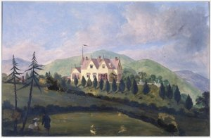 View from the front of William Barnard Rhodes' house The Grange. Oil painting by Henry Tilbury, 1869.