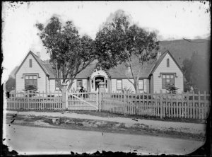 Wellington's first hospital on Pipitea Street, Thorndon, c. 1866-1883